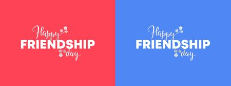 Set of minimal vector happy friendship day banner. White and text on blue and red backgrounds. Collection of holiday design for web, poster, invitation card, party, school event, print. Reklamní fotografie - 133562626