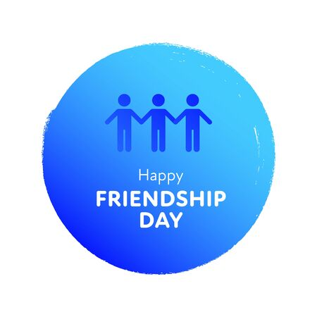 Modern gradient vector happy friendship day banner. Blue circle with group of people symbol and white text isolated on white background Holiday design for web, poster, card, party, school event, print
