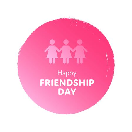 Modern gradient vector happy friendship day banner. Pink circle with group of female sign and white text isolated on white background Holiday design for web, poster, card, party, school event, print