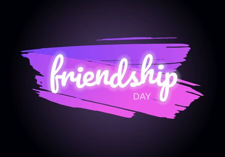 Vector school gradient brush stroke friendship day banner. Glowing light text violet to pink brushstroke isolated on black background. Design for poster, invitation, card, web, meeting, decoration