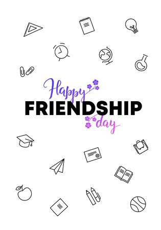 Vector school gradient friendship day banner. Black and violet to pink text and school theme icon isolated on white background Design for poster, invitation, card, web, meeting, decoration, university