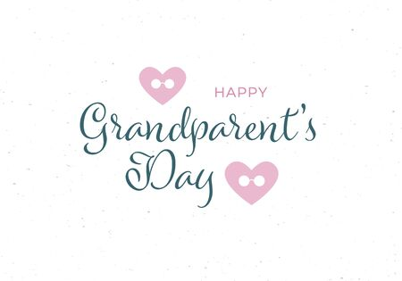 Vector flat grandparents day holiday banner template. Black text and pink heart and glasses symbols isolated on white background. Design for poster, invitation, card, greeting, congratulation.