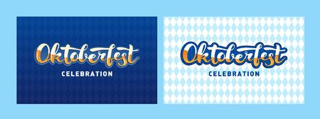 Vector oktoberfest banner template set. Hand drawn lettering text on retro country texture background. Design for flyer, card, invitation, beer menu, label, ad, event