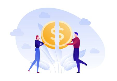 Vector flat family money saving person illustration. Man and woman holding half coin isolated on white background Design element for banner, poster, web, infographic. Concept of financial intelligence