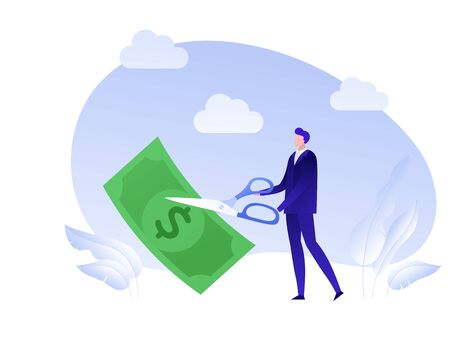 Vector flat business tax cut person illustration. Man with scissors cut dollar banknote isolated on white. Concept of tax reduce. Design element for banner, poster, web Vektoros illusztráció