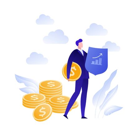 Vector flat business insurance person illustration. Businessman agent with shield and coin isolated on white. Concept of finance advisor, protection Design element for banner, poster, infographic, web