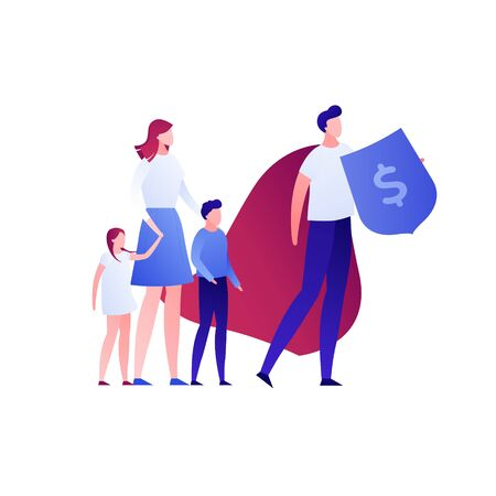 Vector flat business insurance person illustration. Family and super hero defender agent isolated on white. Concept of finance advisor, protection. Design element for banner, poster, infographic, web Stock fotó - 133406066