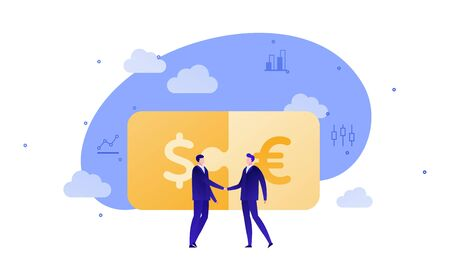 Vector flat business puzzle person illustration. Male businessmans handshake on dollar euro background. Concept of world currency exchange, trade. Design element for banner, poster, infographic, web.