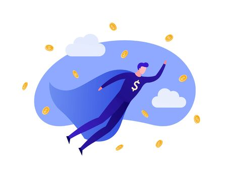 Vector flat business hero people illustration. Male superhero flying in money fall with dollar sign isolated on white background. Design element for banner, poster, web, inforgraphics. 일러스트