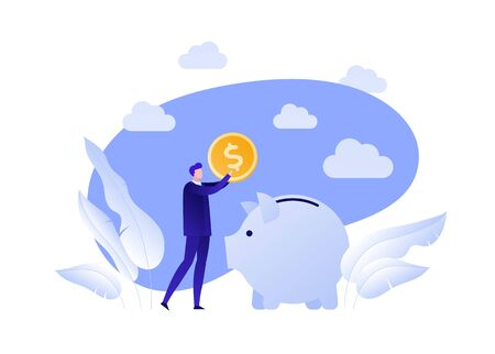 Vector flat piggybank money save illustration. Businessman holding coin and pig on blue sky background. Concept of banking, income deposite, pension. Design element for banner, poster, infographics.