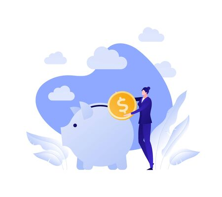 Vector flat piggybank money save illustration. Female holding coin and pig on blue sky background. Concept of banking, income deposite, pension. Design element for business banner, poster, infographic Ilustrace