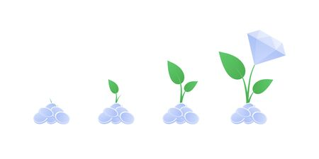 Vector flat finance business illustration. Growing money tree with diamond. Concept of growth and investment. Design element for background, banner, poster, infographics