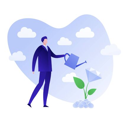 Vector flat finance business people illustration. Businessman holding watering can and diamond money tree. Concept of growth and investment. Design element for background, banner, poster, infographics