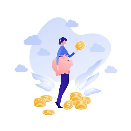 Vector flat piggybank money save illustration. Female holding pig and coin on sky background. Concept of banking, income deposite, pension. Design element for business banner, poster, infographic