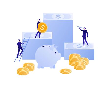 Vector flat bank business illustration. Team of businessman on money stack with coin isolated on white. Concept of save, banking, deposite, pension. Design element for banner, poster, infographic