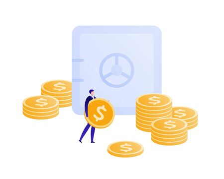 Vector flat bank safe business illustration. Male holding coind and money stacks isolated on white. Concept of invest, banking, deposite, pension. Design element for banner, poster, infographic