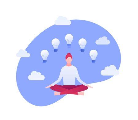 Vector flat idea meditation illustration. Sitting woman with light bulb symbols on sky background. Concept of creativity, life work balance, mindfullness Design element for banner, poster, infographic 스톡 콘텐츠 - 133406123