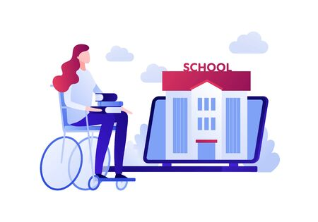 Vector modern flat education illustration. Disabled woman sitting in wheelchair with book. Concept of online learning, university, courses. Design for posters, flyers, cards, banners