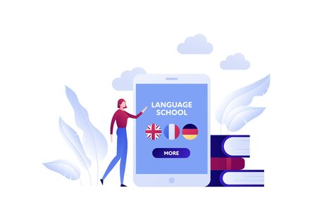 Vector modern flat online language education illustration. Woman near screen with landing page and english, french and german icons. Books, cloud on background. Design for posters, flyer, card, banner Vecteurs