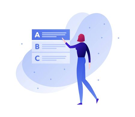 Vector modern flat education exam illustration. Woman character select answer from test list. Concept of online university study, college questionnaire. Design element for poster, flyer, card, banner