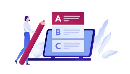 Vector modern flat education exam illustration. Woman with pen choose answer from list on laptop. Concept of online university study, college examination Design element for poster, flyer, card, banner