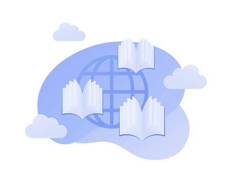 Illustration de l'éducation mondiale plate de vecteur. Icône de terre simple avec des livres ouverts sur fond de ciel bleu. Concept d'accès mondial à l'étude. Élément de design pour bannière, affiche, infographie universitaire.