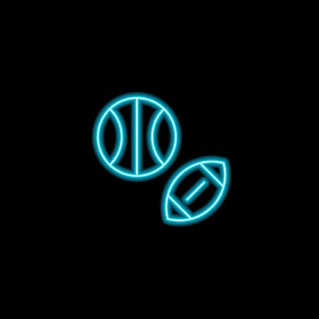 Vector school theme neon blue icons. Sport education concept glowing ball pictogram for rugby, football, volleyball, basketball isolated on black. Modern design elements for sport lessons