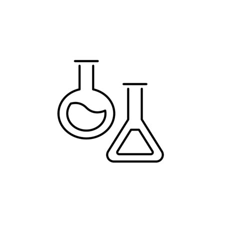 Set of vector school theme icon. Experiment education concept black tube pictogram for test, chemistry, medicine experimentation isolated on white background. Modern design element for natural science Illustration
