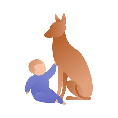 Trendy flat baby character vector cartoon illustration. Set of toddler and brown dog sitting isolated on white background. Child stretches to animal. Symbol of friendship and guardian.