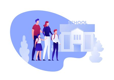 Vector modern flat back to school family character illustration. Parents with kids going to school building with trees in fluid shape frame on white. Design element for banner, poster, card