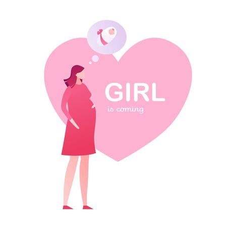Vector gradient modern flat baby shower illustration. Pregnant woman thinking of child with pink heart shape frame and its girl text isolated on white Design element for invitation card, announcement
