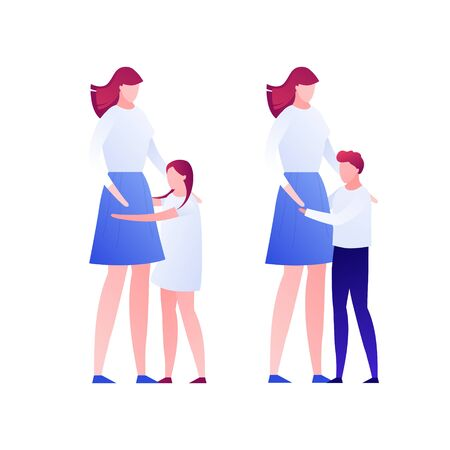 Vector modern flat child mother character illustration. Happy woman hug with daughter and son isolated on white background. Design element. Concept of parent kid love, adoption, relationship.