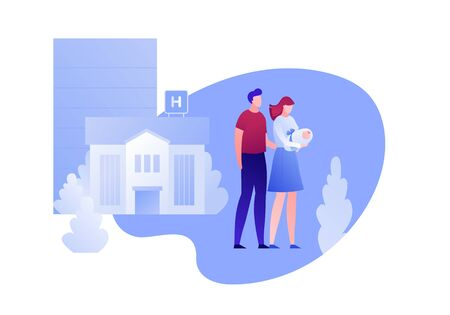 Vector modern flat newborn parents character illustration. Happy father and mother couple holding walking from hospital on white. Design element for clinic banner, poster, infographics, medicine.