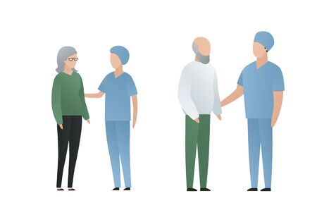 Modern flat doctor and patient character vector cartoon illustration. Male and female nurse and talking with older patient isolated on white background. Aged characters grey hair on white