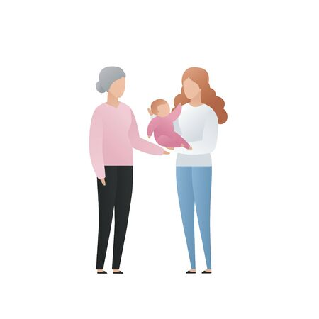 Vector modern flat family character illustration. Cute gradient grandmother with her daughter and grandchild baby isolated on white background. Big familes people tale care of each other Illusztráció