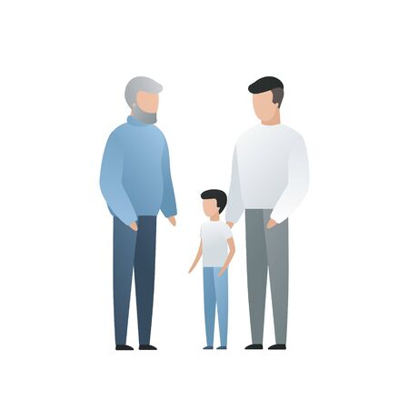 Vector modern flat family character illustration. Cute gradient grandfather with his son and grandchild isolated on white background. Big familes people tale care of each other Illusztráció