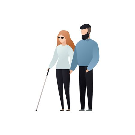 Vector blind character people flat illustration. Adult woman in glasses with cane walking with man isolated on white background. Modern design element for social care service, diversity, accessebility