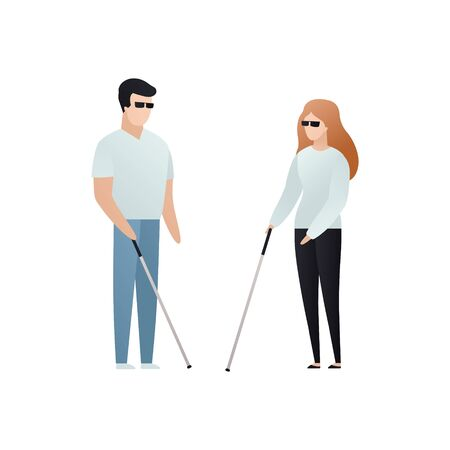 Vector blind character people flat illustration. A pair of man and woman in glasses with cane standing isolated on white background. Modern design element for social care service, diversity friendship