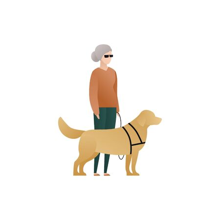 Vector blind character people flat illustration. Pair of old woman walking and guide dog isolated on white background. Modern design element for social care service, diversity, accessebility, guidance