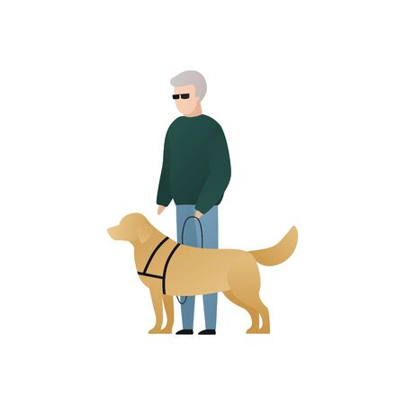 Vector blind character people flat illustration. Pair of senior man and guide dog stand isolated on white background. Modern design element for social care service, diversity, accessebility, guidance Illustration