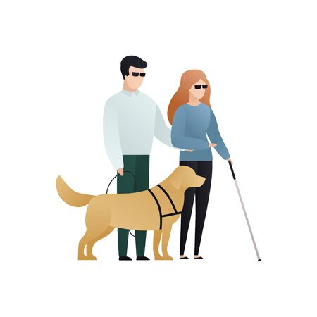 Vector blind character people flat illustration. Pair in glasses with cane walking with guide dog. Modern design element for social care service, diversity, accessebility, relationship, love Ilustrace