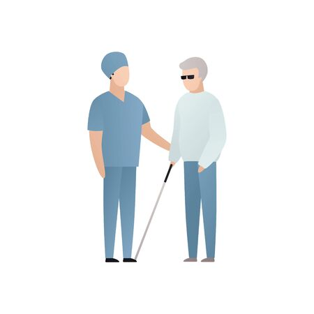 Vector blind character people flat illustration. Medical worker in uniform care of senior man with glasses and stick isolated on white. Modern design element for healthcare service, accessebility