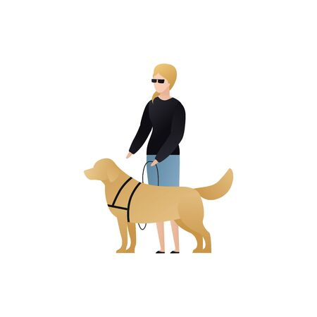 Vector blind character people flat illustration. Pair of female with glasses walking with guide dog isolated on white. Modern design element for social care service, diversity, accessebility, guidance Illustration