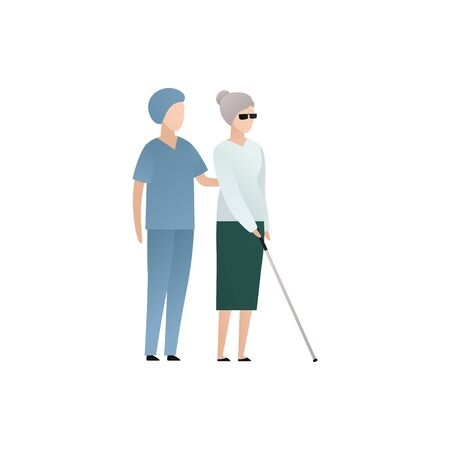 Vector blind character people flat illustration. Medical worker in uniform walking with old woman with glasses and cane isolated on white. Modern design element for healthcare service, accessebility Ilustrace