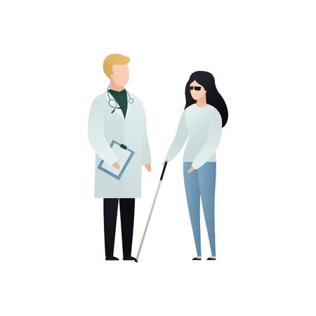 Vector blind character people flat illustration. Doctor in uniform care of patient with glasses and cane isolated on white. Modern design element for healthcare service, accessebility, social work