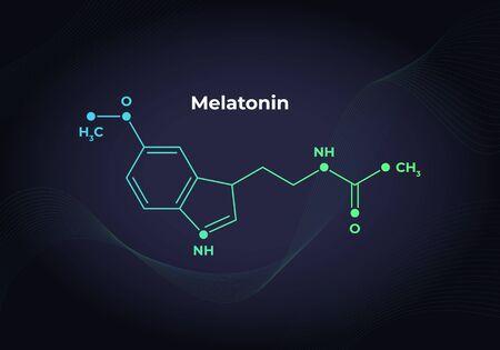 Vector hormones blend banner template. Melatonin structure on in modern gradient 3d background. Hormone assosiated with sleep disorder. Scientific modern concept. Design for education, presentation.