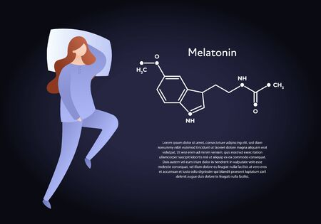 Vector hormones flat character banner template. Melatonin structure and sleeping woman on dark background. Place holder for text. Scientific modern concept. Design for education, presentation. Archivio Fotografico - 133406257