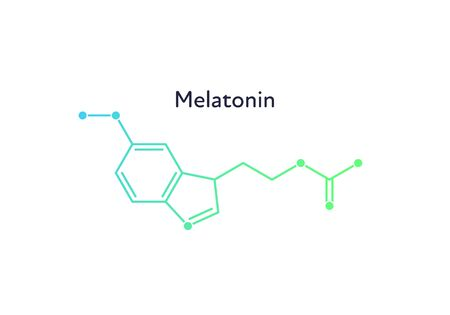 Vector hormones gradient banner template. Minimalist style melatonin structure on white. Hormone assosiated with sleep disorder. Design for science, education, presentation.