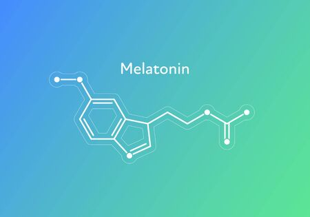 Vector hormones gradient banner template. Melatonin structure on blue to green background. Hormone assosiated with sleep disorder. Design for science, education, presentation.