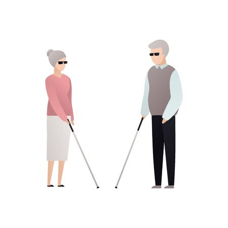 Vector blind character people flat illustration. A pair of senior man and woman in glasses with stick standing isolated on white background. Modern design element for social care service, relatioship